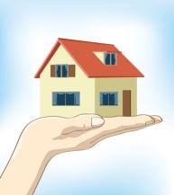12488204 - image of a hand holding up a house on nice clear blue background.