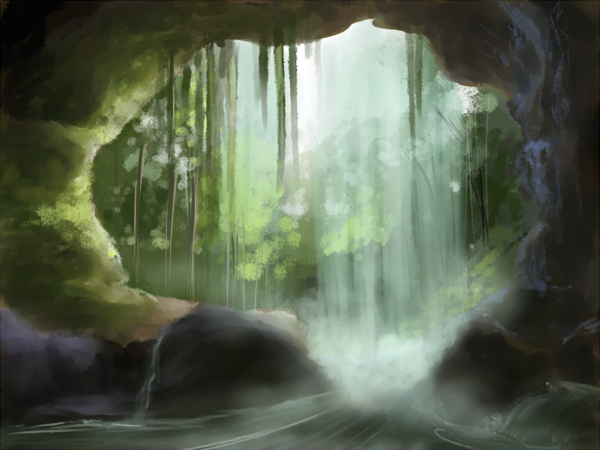cave_entrance__behind_the_waterfall_by_yufika-d5s8v01